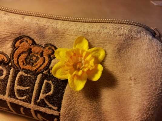 Picture 1: A Welsh  daffodil on the pencil case. The daffodil is the national flower of Wales, and is worn on St David's Day each 1 March.