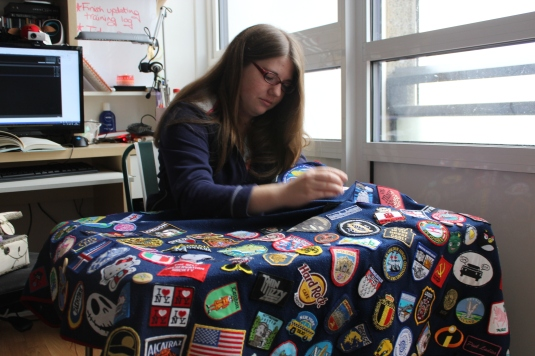 Victoria's blanket with badges